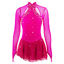 cheap Cat Litter & Scratch Maps-Figure Skating Dress Women's / Girls' Ice Skating Dress Peach Spandex Rhinestone High Elasticity Performance Skating Wear Handmade