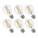 baratos Adesivos de Unhas-GMY® 6pcs 8.5W 800lm E26 Lâmpadas de Filamento de LED A19 4 Contas LED COB Regulável Luz LED Branco Quente 110-130V