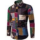 cheap Softshell, Fleece & Hiking Jackets-Men's Boho Cotton Slim Shirt - Plaid Spread Collar / Long Sleeve