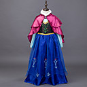 cheap Kids Halloween Costumes-Princess / Fairytale / Anna Dress / Cloak Christmas / Masquerade Festival / Holiday Halloween Costumes Blue Color Block Dresses / Cover Up Adorable