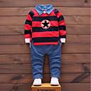 preiswerte Kleidersets für Jungen-Jungen Kleidungs Set Gestreift Baumwolle Ganzjährig Langarm Einfach Niedlich Street Schick Grün Rote