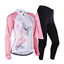 halpa Muotirannekorut-Nuckily Naisten Pitkähihainen Pyöräily jersey ja trikoot - Pinkki Geometrinen Pyörä Jersey Vaatesetit, Anatominen tyyli, Hengittävä,