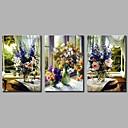 tanie Obrazy: motyw ludzi-Hang-Malowane obraz olejny Ręcznie malowane - Martwa natura Nowoczesne Brezentowy / Trzy panele / Rozciągnięte płótno