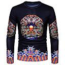 cheap Men's Slip-ons & Loafers-Men's T-shirt - Tribal Print Round Neck / Long Sleeve