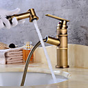 cheap Bathroom Sink Faucets-Bathroom Sink Faucet - Widespread Antique Copper Centerset Single Handle One Hole