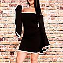 baratos Sandálias Femininas-Mulheres Para Noite Manga Alargamento Bainha Vestido Estampa Colorida Decote Canoa Assimétrico Preto