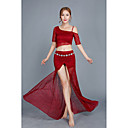 cheap Belly Dance Wear-Belly Dance Outfits Women's Performance Lace Tulle Lace Half Sleeves Dropped Skirts Top