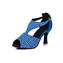 povoljno Cipele za latino plesove-Žene Plesne cipele Saten Cipele za latino plesove Sandale Kubanska potpetica Moguće personalizirati Crn / Plava / Nude