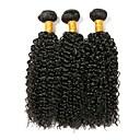 cheap Natural Color Hair Weaves-Brazilian Hair Kinky Curly Natural Color Hair Weaves 3 Bundles Human Hair Weaves Natural Black Human Hair Extensions Women's