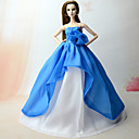 cheap Apparel For Barbie-Dresses Dress For Barbie Doll Blue Chiffon Dress For Girl's Doll Toy