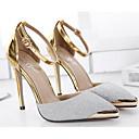 baratos Brincos-Mulheres Sapatos Couro Ecológico Primavera / Outono Conforto Saltos Salto Agulha Dourado / Prata