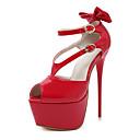 זול נעלי עקב לנשים-בגדי ריקוד נשים נעליים דמוי עור אביב / קיץ נוחות / חדשני / מגפיים אופנתיים עקבים עקב סטילטו פפיון שחור / אדום / חתונה