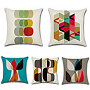 cheap Pillow Covers-5 pcs Cotton / Linen Pillow Cover, Geometric Bohemian Style Retro