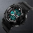 זול ציורי שמן-SKMEI שעון יד דיגיטלי 50 m עמיד במים לוח שנה שעון עצר PU להקה אנלוגי-דיגיטלי פאר אופנתי שחור / ירוק - שחור אדום כחול / זוהר בחושך