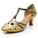 billige Neglestempling-Dame Moderne sko Glimtende Glitter Høye hæler Kustomisert hæl Kan spesialtilpasses Dansesko Gull / Sølv / Innendørs