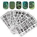 cheap Nail Stamping-10 pcs Lace stamping plate polish Nail art transfer template and 1 square transparent stamp, Stamping Tool Template Flower / Animal Nail Art Design Fashionable Design Stylish