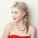 זול סטים של תכשיטים-בגדי ריקוד נשים סט תכשיטים - פרח לִכלוֹל אדום כהה עבור חתונה / Party
