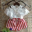 זול שמלות לבנות-סט של בגדים כותנה קיץ חצי שרוול יומי אחיד פסים בנות יום יומי לבן