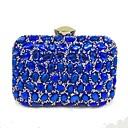 baratos Clutches & Bolsas de Noite-Mulheres Bolsas Poliéster Bolsa de Festa Lantejoulas / Detalhes em Cristal Preto / Prata / Vermelho