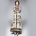 baratos Conjunto de Bolsas-Mulheres Trabalho Moda de Rua Evasê Vestido Floral Colarinho de Camisa Longo Médio