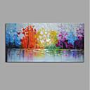 זול ציורי פרחים/צמחייה-ציור שמן צבוע-Hang מצויר ביד - מופשט / L ו-scape מודרני בַּד / בד מתוח