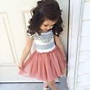 זול שמלות לבנות-שמלה כותנה אקריליק כל העונות שרוולים קצרים יומי ליציאה חגים אחיד פסים הילדה של פשוט חמוד ורוד מסמיק