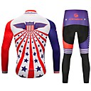 cheap Cycling Jersey & Shorts / Pants Sets-CYCOBYCO Men's Long Sleeves Cycling Jersey with Tights - Red and White Bike Tights Jersey Pants / Trousers Clothing Suits, Quick Dry,