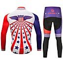 baratos Camisas Para Ciclismo-CYCOBYCO Homens Manga Longa Calça com Camisa para Ciclismo - Vermelho e Branco Moto Meia-calça Camisa/Roupas Para Esporte Calças