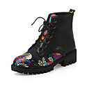 cheap Women's Boots-Women's Nubuck leather / PU(Polyurethane) Fall / Winter Comfort / Novelty / Combat Boots Boots Low Heel Pointed Toe Booties / Ankle Boots Appliques Black / Party & Evening