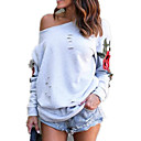 cheap Necklaces-Women's Going out Cotton Loose Sweatshirt - Floral / Embroidery / Plaid / Fall
