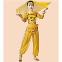 זול בגדי ריקוד לילדים-ריקוד בטן תלבושות בנות הצגה שיפון Paillette קפלים שרוול 4\3 נפול עליון מכנסיים חגורה צמיד לבוש ראש