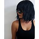 olcso Szintetikus csipke parókák-Szintetikus parókák Hullámos Bretonnal Szintetikus haj Fekete Paróka Női 11-14 hüvelyk Sapka nélküli Fekete