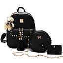 cheap Bag Sets-Women's Bags Polyester / PU(Polyurethane) Bag Set 3 Pcs Purse Set Beading / Zipper / Tassel Black / Blushing Pink / Gray