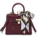 cheap Totes-Women's Bags PU Tote Sashes / Ribbons Black / Wine / Khaki