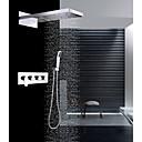 זול ברזים למקלחת-עכשווי מותקן על הקיר מפל מים מקלחת גשם שפורפרת יד כלולה שסתום קרמי ארבעה מטפל בשלושה חורים כרום, ברז למקלחת