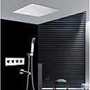 זול אומנות ממוסגרת-עכשווי התקנת קיר מקלחת גשם שפורפרת יד כלולה תרמוסטטי שסתום קרמי ארבע ידיות ארבעה חורים כרום, ברז למקלחת
