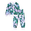 זול סטים של ביגוד לבנות-סט של בגדים כותנה שרוול ארוך פרחוני ספורט פשוט / יום יומי יוניסקס ילדים