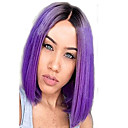 cheap Synthetic Capless Wigs-Synthetic Wig Straight Style Bob Capless Wig Purple Black / Purple Synthetic Hair Women's Side Part Purple Wig Medium Length Cosplay Wig