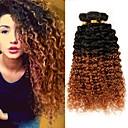 tanie Peruki z włosów ludzkich-3 zestawy Włosy brazylijskie Perwersyjny Kędzierzawy Włosy virgin Ombre Ludzkie włosy wyplata Ludzkich włosów rozszerzeniach / Kinky Kręcone