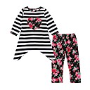 cheap Girls' Clothing Sets-Toddler Girls' Casual / Active Daily / Going out Striped / Floral Long Sleeve Regular Regular Cotton Clothing Set White 2-3 Years(100cm)
