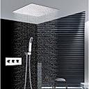 זול ברזים למקלחת-עכשווי התקנת קיר מקלחת גשם שפורפרת יד כלולה תרמוסטטי שסתום קרמי שלוש ידיות שלושה חורים כרום, ברז למקלחת