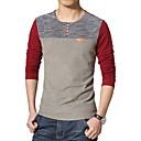 cheap Security Accessories-Cotton T-shirt - Color Block Patchwork Round Neck