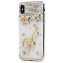 זול מגנים לטלפון & מגני מסך-מגן עבור Apple iPhone X iPhone 8 Plus ריינסטון כיסוי מלא פרח קשיח עור PU ל iPhone X iPhone 8 Plus iPhone 8 iPhone 7 Plus iPhone 7 iPhone