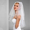 preiswerte Parykopfbedeckungen-Zweischichtig Schnittkante / Schleier Hochzeitsschleier Ellbogenlange Schleier mit Rüschen / Rattan Tüll / Klassisch