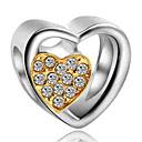 זול חרוזים-תכשיטים DIY 1 יח חרוזים יהלום מדומה סגסוגת צהוב כחול ים לב חָרוּז 0.2 cm עשה זאת בעצמך שרשראות צמידים