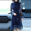 preiswerte Modische Halsketten-Damen Ausgehen Street Schick / Anspruchsvoll Aufflackern-Hülsen- Schlank Hülle Kleid - Rüsche, Einfarbig Midi Ständer Blau / Frühling