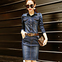 cheap Women's Sneakers-Women's Work Sophisticated Street chic Sheath Denim Dress - Solid Colored Shirt Collar