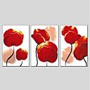 tanie Obrazy: motyw roślinny/botaniczny-Hang-Malowane obraz olejny Ręcznie malowane - Kwiatowy / Roślinny Nowoczesny Brezentowy / Trzy panele / Rozciągnięte płótno