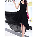 cheap Choker Necklaces-Women's Going out Street chic Sheath Chiffon Swing Dress - Solid Color Black, Layered Ruffle Pleated High Waist Asymmetrical