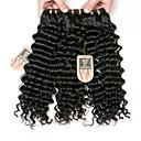 זול תוספות שיער בגוון טבעי-3 חבילות שיער ברזיאלי גל עמוק שיער בתולי טווה שיער אדם שוזרת שיער אנושי נשים / extention / נוער תוספות שיער אדם